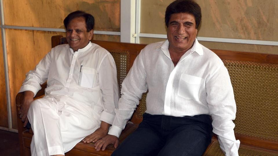 "Rajya Sabha MP Ahmed Patel (L) and Raj Babbar (R) share a moment before a press conference during the Parliament budget session in New Delhi. Uttar Pradesh Congress Committee (UPCC) president Raj Babbar has offered to resign from his post, sources close to him said. ""Yes, Babbar has offered to resign and the party high command will now take a decision on it,"" said a senior Congress leader seeking anonymity. (Sonu Mehta / HT Photo)"