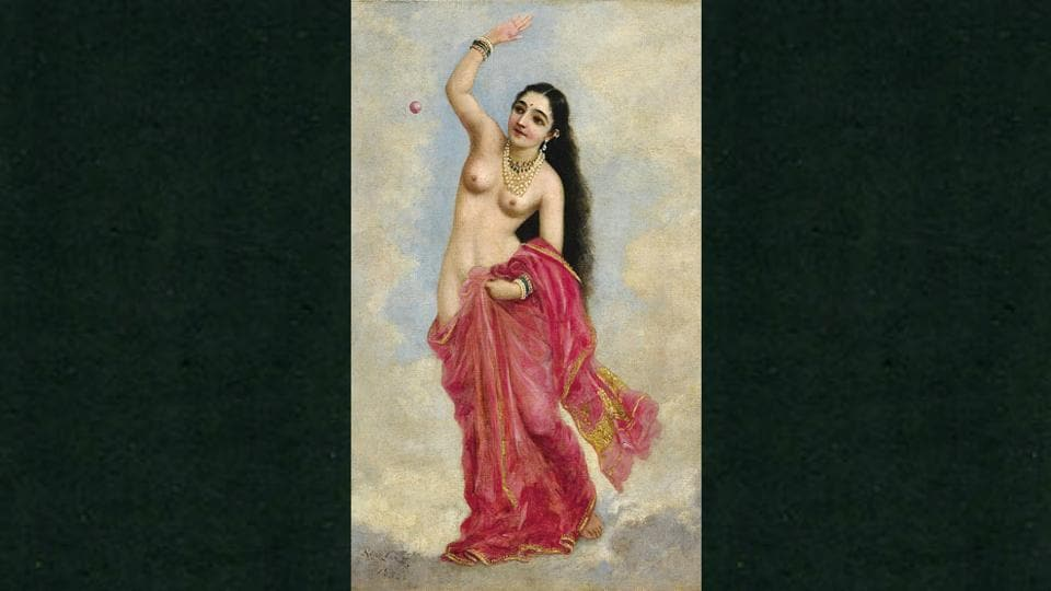 Raja Ravi Varma's painting that portrays the apsara's descent through the skies down to earth, is said to be inspired from Venus who was the embodiment of female beauty.