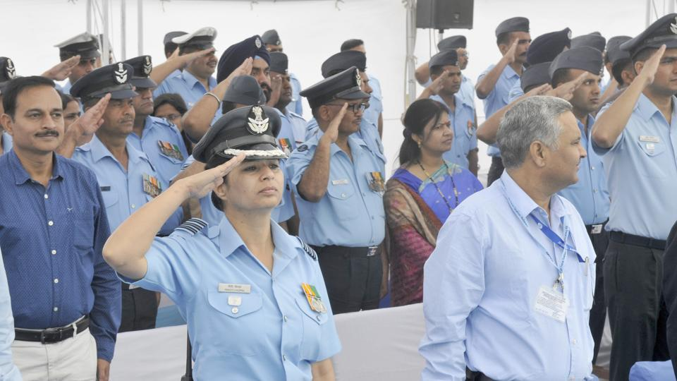 A woman officer along with others at the parade at Halwara Air Force Station in Ludhiana on Thursday. (Gurminder Singh/HT)