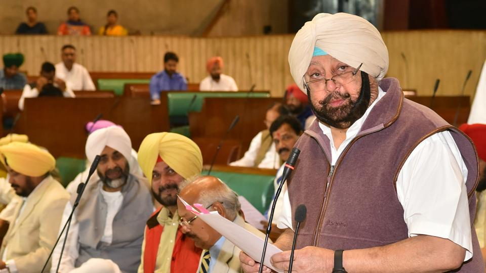 Punjab chief minister Captain Amarinder Singh responding to question during the question hour on the third day of the Budget Session in the Punjab Vidhan Sabha on Thursday.