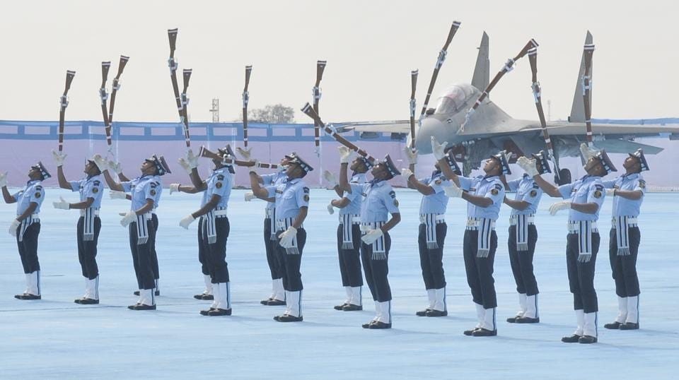 The Air Warrior Drill team that boasts of their unique synchronised drill movements with rifles, carrying live bayonets, is first of its kind among the military and para military forces of the country. (Gurminder Singh/HT)