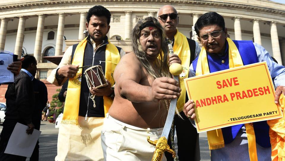 Sivaprasad, who has acted in over 20 Tollywood movies, also came dressed as a 'tantrik', armed with a wooden pellet rattle, and performed a puja in the Parliament complex. He was once even reprimanded by Speaker Sumitra Mahajan when he picked up some books from the table of the Lok Sabha Secretary General. (Arvind Yadav / HT Photo)