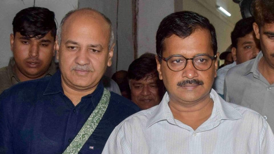 Delhi chief minister Arvind Kejriwal and deputy CM Manish Sisodia arrive to present the Delhi government budget for 2018-19 in Delhi Assembly in New Delhi.