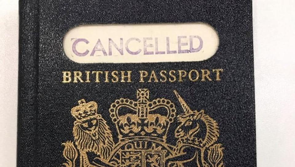 A handout photograph shows the original 'blue' British passport, which was subsequently replaced by the burgundy EU British passport, supplied by the UK government in London, Britain, March 22, 2018.