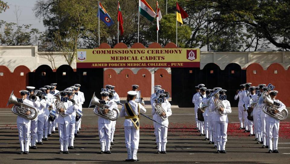 a performance by the Central Naval band, underscoring the tri-services affiliation of Armed Forces Medical Services. (Rahul Raut/HT PHOTO)