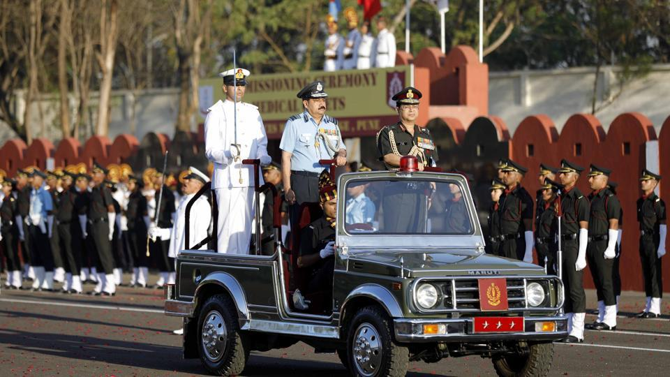Since 2008, the commissioning ceremony parade has been commanded by a newly commissioned officer. (Rahul Raut/HT PHOTO)