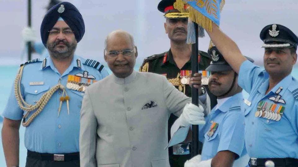 President Ram Nath Kovind at the Halwara air force station to award the President's Standard to the Indian Air Force (IAF)'s 51 Squadron and Colours to the 230 Signal Unit in Ludhiana on Thursday.