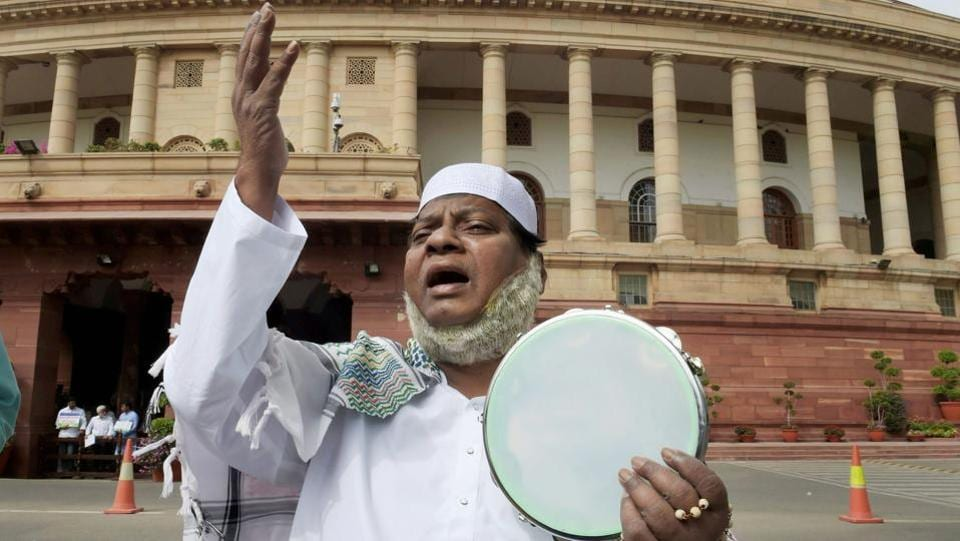 His various avatars to register a demand for special status for Andhra Pradesh also brought him dressed as religious figures, seen as a Muslim cleric here. Similarly, earlier this month, he arrived dressed as Lord Krishna and played the flute outside the Parliament. (Shahbaz Khan / PTI)