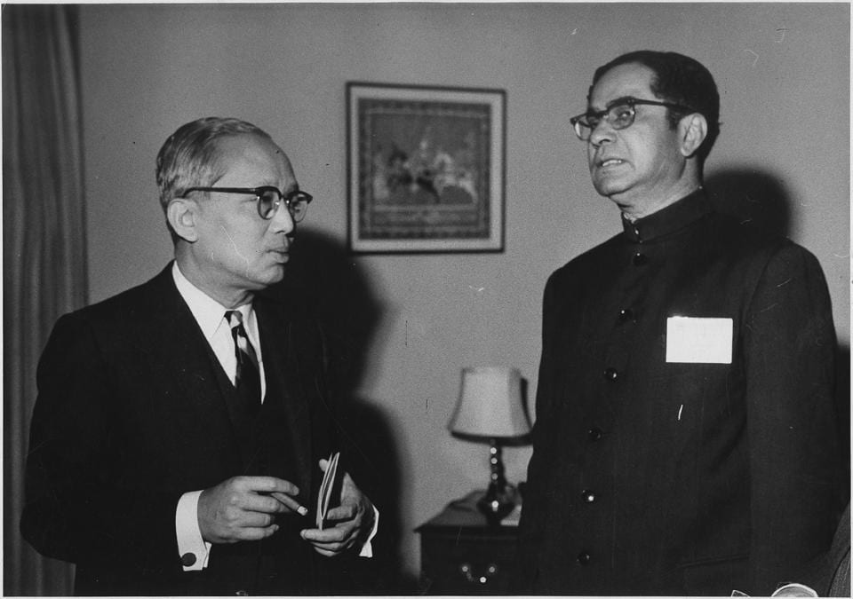 Former United Nations Secretary General U Thant with the then India's Permanent Representative to the UN Gopalaswami Parthasarathi, New York