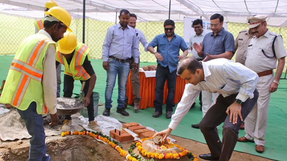Gurgaon police commissioner Sandeep Khirwar today lays the foundation stone of the new police station building in Sector 83.