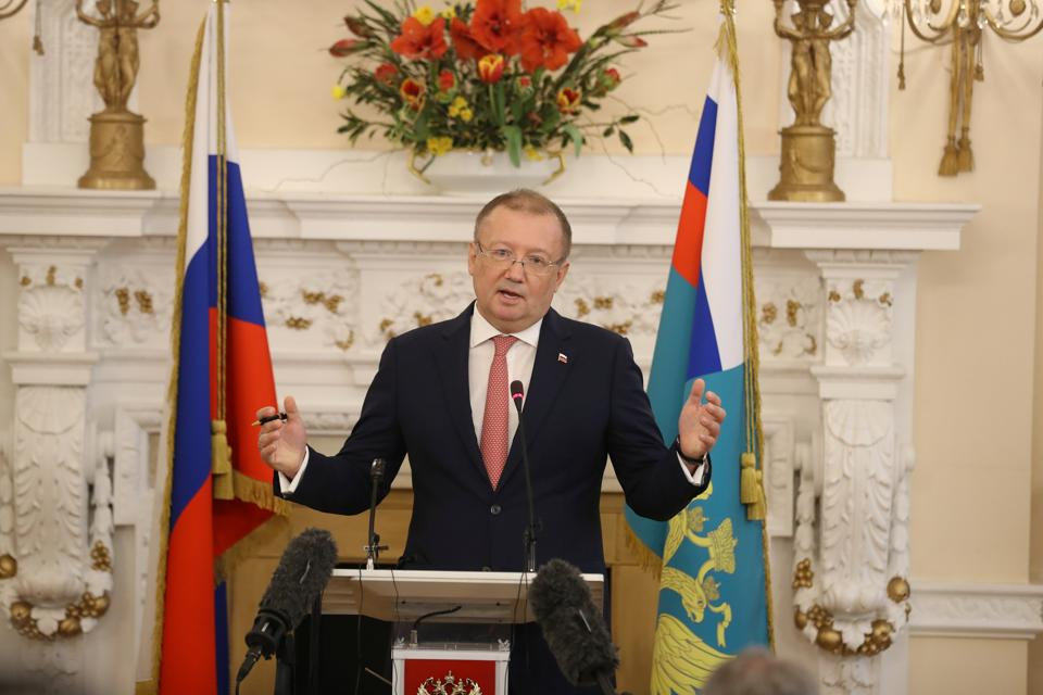 Russia's ambassador to the UK, Alexander Yakovenko, holds a news conference at the Russian Embassy in London on March 22, 2018.