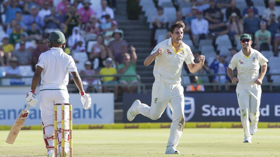 Get full cricket score of South Africa vs Australia, 3rd Test, Day 1, Cape Town, here. Dean Elgar scored a brilliant century but Australia fought back with Pat Cummins taking four wickets.