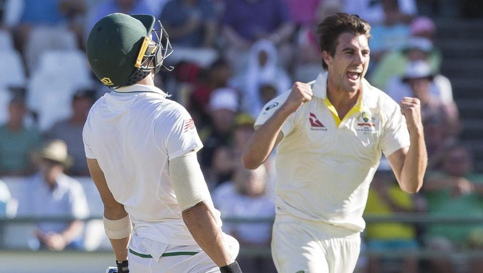 Pat Cummins picked up four wickets in an eight-over spell to wreck South Africa after the Proteas were put in a strong position against Australia thanks to Dean Elgar's century.