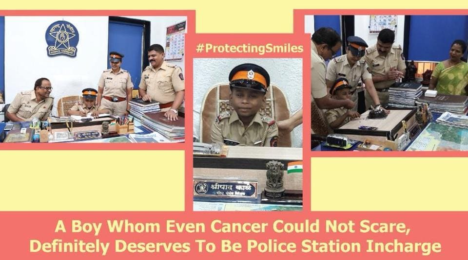In a photo tweeted by Mumbai Police, the boy is seen dressed in the khaki uniform and sitting on a chair while a few policemen huddle him around and offer him a piece of cake.