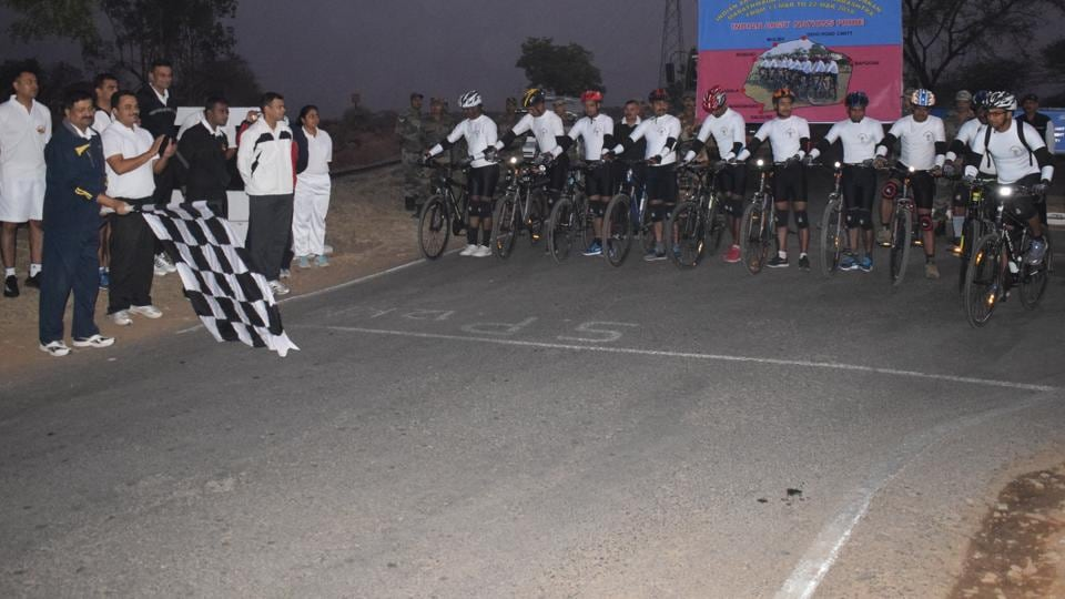 The cycle expedition,led by Lieutenant Sandeep Singh Khatana, covered a total distance of 500 km.