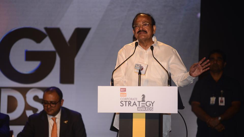 Vice President Venkaiah Naidu addresses 'The Mint Corporate Strategy Awards 2018' in Mumbai on Friday.