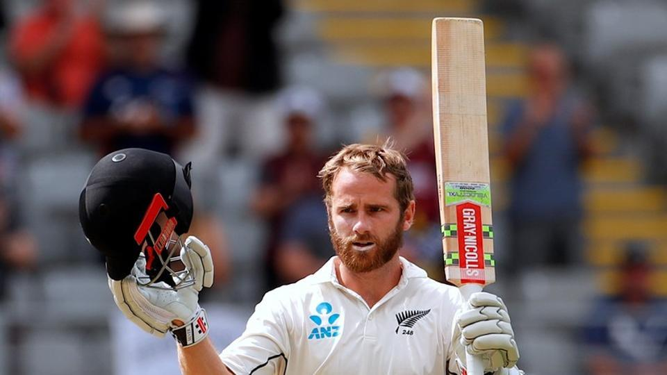 New Zealand cricket team captain Kane Williamson celebrates reaching his century during the second day of the first cricket Test against England in Auckland on Friday.