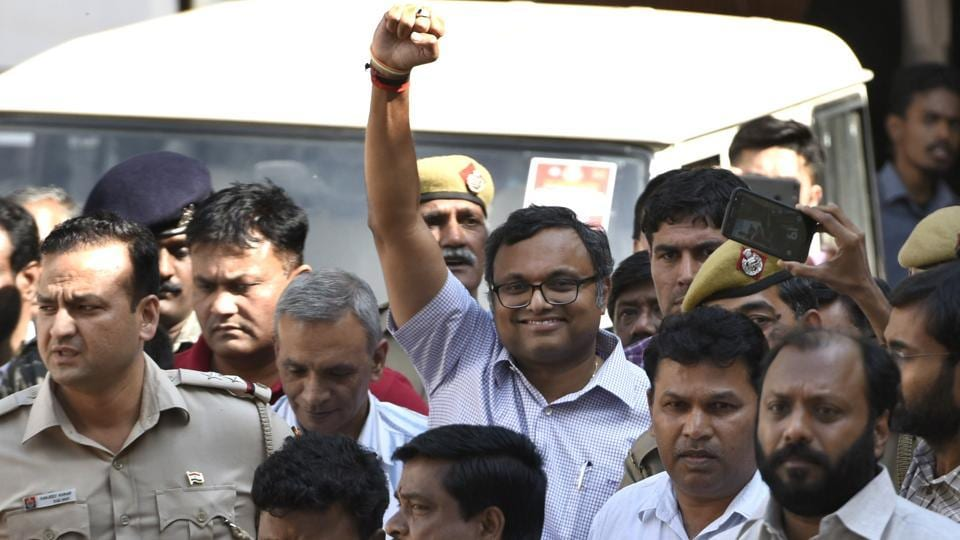 The Delhi High Court granted bail to Karti Chidambaram, son of senior Congress leader P Chidamabaram, in the INX Media corruption case. Justice SP Garg directed him to furnish a surety of Rs 10 lakh and imposed additional conditions including that he will seek prior permission of the CBI if he wants to leave the country. His passport is already deposited with the authorities, his lawyers had earlier told the court. (Sushil Kumar / HT Photo)