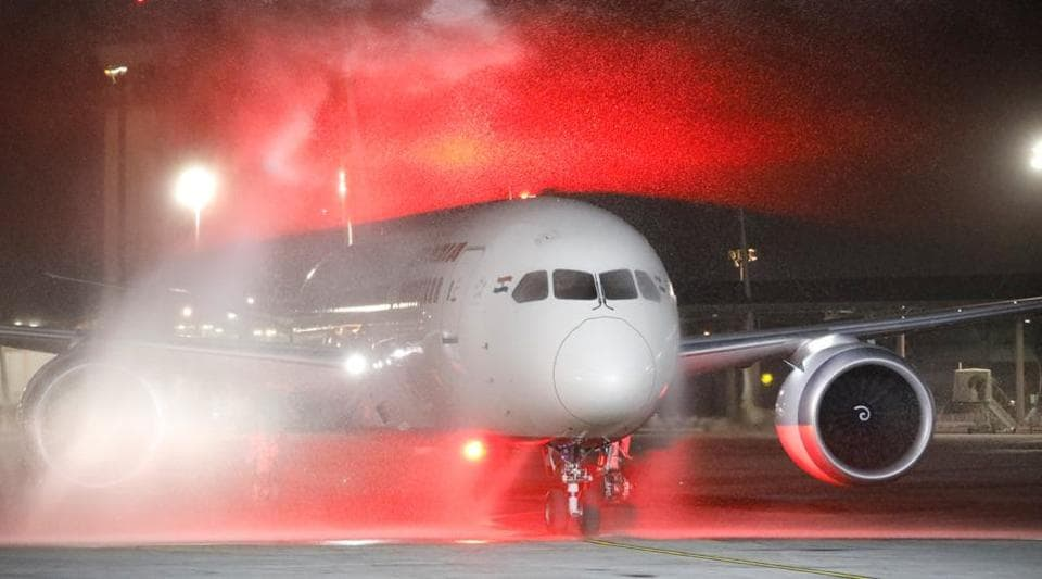 An Air India Boeing 787-8 Dreamliner plane receives a water cannon salute upon its landing at Ben Gurion International Airport in Lod, near Tel Aviv, Israel, March 22, 2018.
