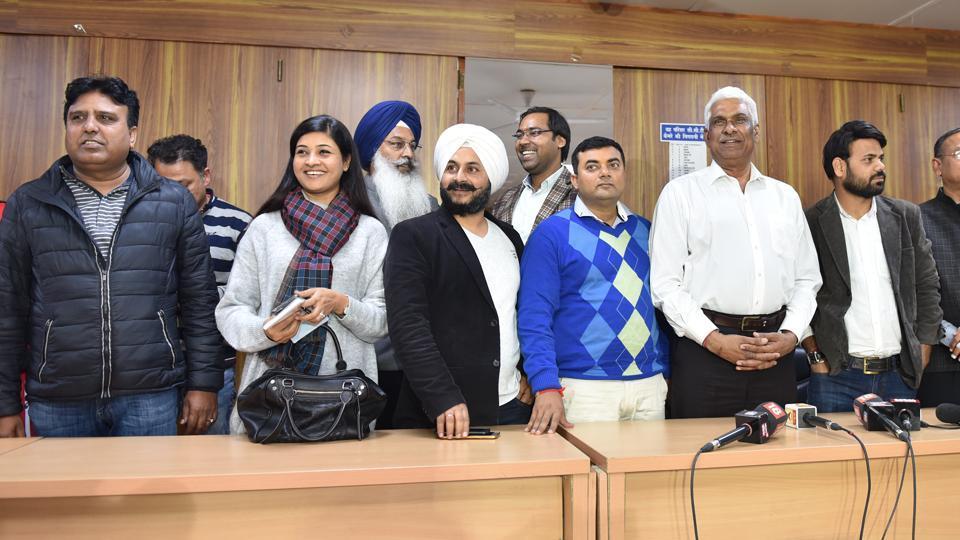 Aam Admi Party MLAs after a press meet over the Election Commission disqualifying 20 party MLAs, in New Delhi on January 20, 2018.