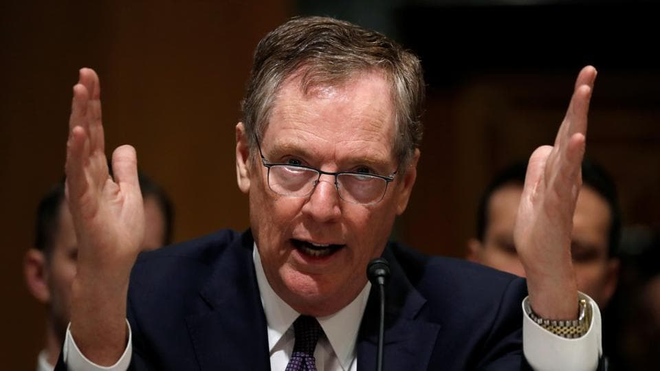 US trade representative Robert Lighthizer testifies before a Senate Finance Committee hearing on President Trump's 2018 Trade Policy Agenda on Capitol Hill in Washington, on Thursday.