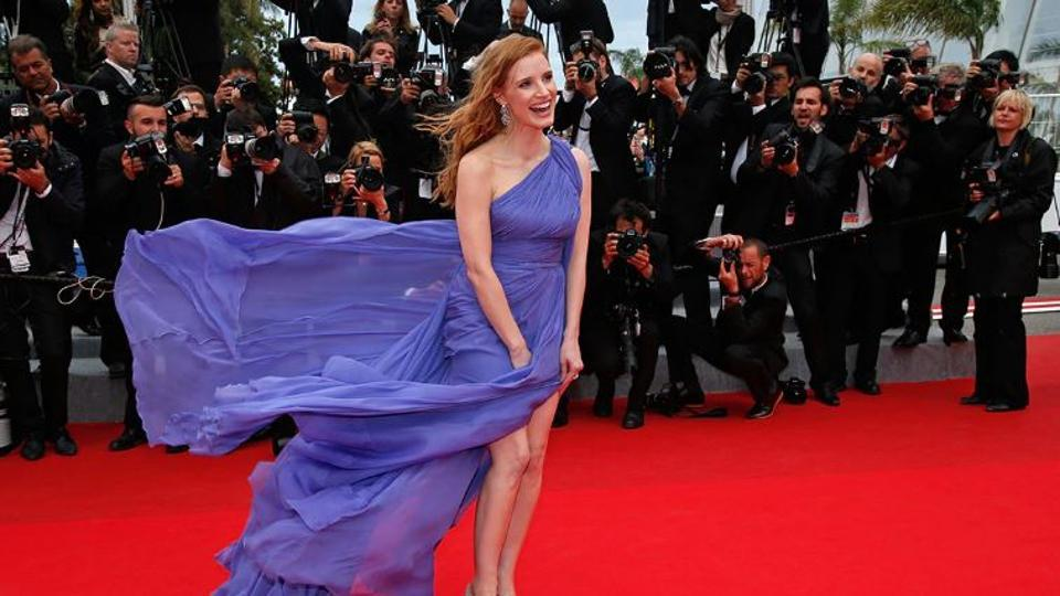 Jessica Chastain at Cannes red carpet.