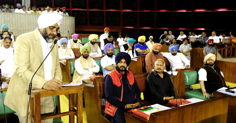 Punjab finance minister Manpreet Singh Badal presenting annual budget at state assembly in Chandigarh on Saturday.