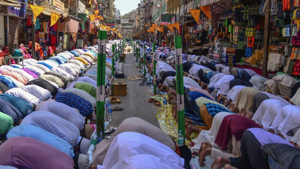 Devotees hold Friday prayers during the Urs festival in Ajmer.