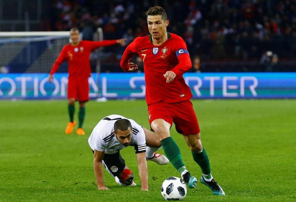 Cristiano Ronaldo scored two goals to hand Portugal a 2-1 win over Egypt in an international friendly in Zurich on Friday.