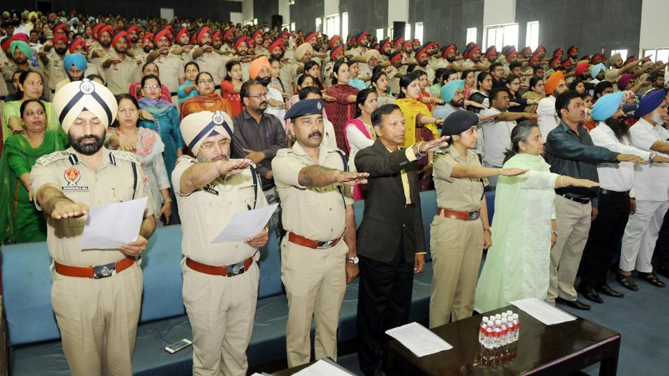 Drug abuse prevention officers taking an oath at Punjabi University in Patiala on Friday.