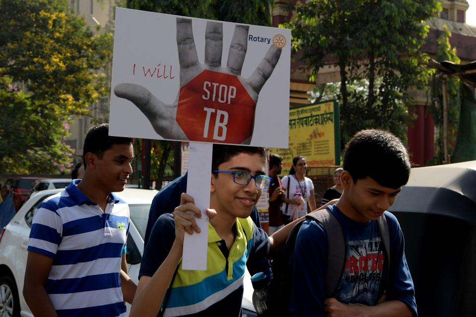 People take out a World TB Day awareness rally at Nerul in Navi Mumbai, on March 24, 2018.  India still adds more new patients annually than any other country, contributing to 27% of the world's disease burden, shows the TB India Report 2018.