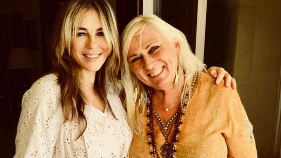 English actor Elizabeth Hurley (left) and Norwegian fashion designer Inger Solberg met in Mumbai.
