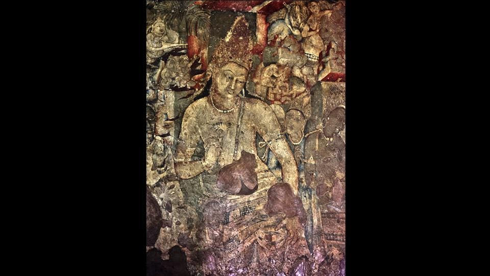 Pawar says it's difficult to comprehend the storylines in the murals, many of which use cinematic flashback style in their damaged state. This broken narrative of Ajanta murals troubled him even while at art college when his saw 'Padmapani' (pictured) – in cave number 1. The mural shows the Bodhisattva with curly hair, in a meditative state. In his right hand, he holds a lotus blossom representing spiritual awakening. (Ajay Aggarwal / HT Photo)