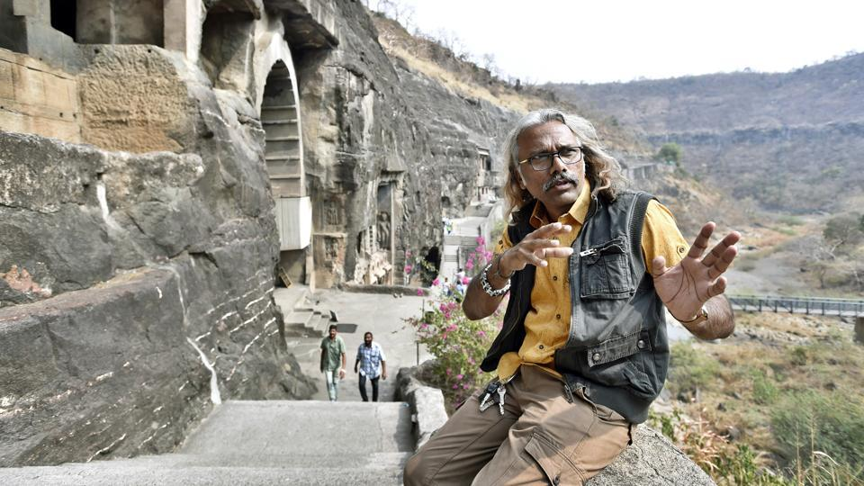 This question has also intrigued Nashik-based artist-photographer Prasad Pawar, who has been researching, documenting, photographing and digitally restoring the Buddhist paintings and sculptures at the UNESCO heritage site, near Aurangabad in Maharashtra for 27 years, but without touching them.  (Ajay Aggarwal / HT Photo)