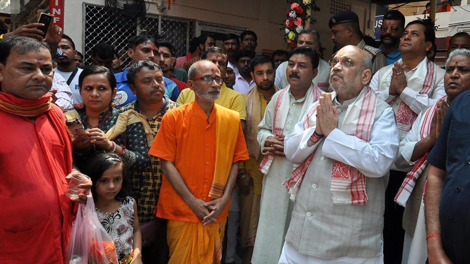 BJP president Amit Shah offers prayers at Kamakhya Temple in Guwahati.