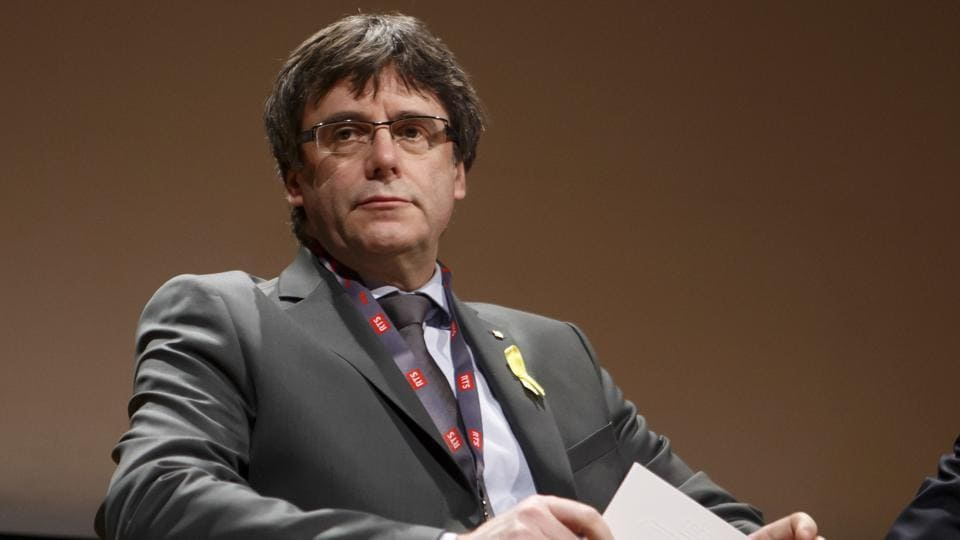 Catalan's fugitive ex-president Carles Puigdemont, takes part in a panel titled