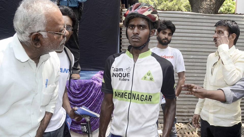 Sambhaji Mohite fell down on JM road after chaos at the Mumbai - Pune Cycle Race finish point in Pune.