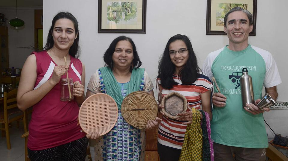 (From left) Rujuta Bhave, Sujata Bhave, Sukhada Bhave and Mayur Bhave follow a strict rule of using only bamboo, cloth and plant fibre material at their residence.