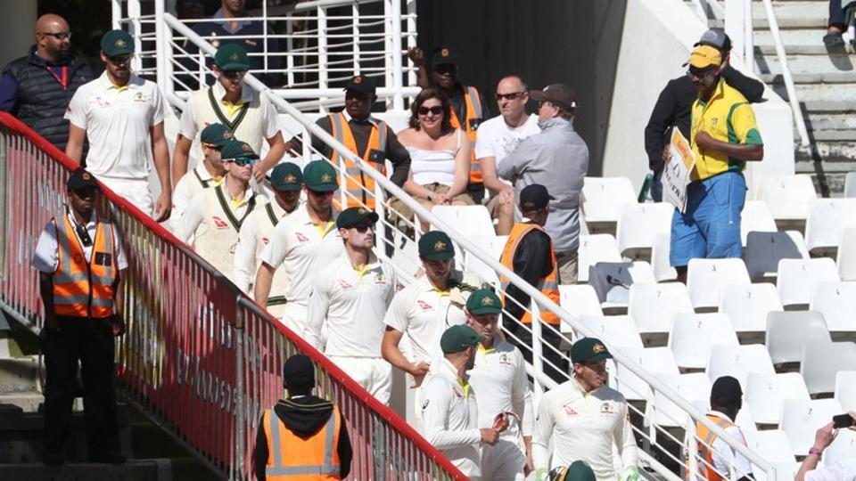 Australia players arrive before the start of play on Day 4 of the third Test against South Africa in Cape Town on Sunday.