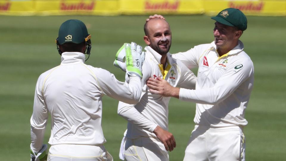 A rare highlight for the tourists saw Nathan Lyon collect his 300th Test wicket.  (REUTERS)