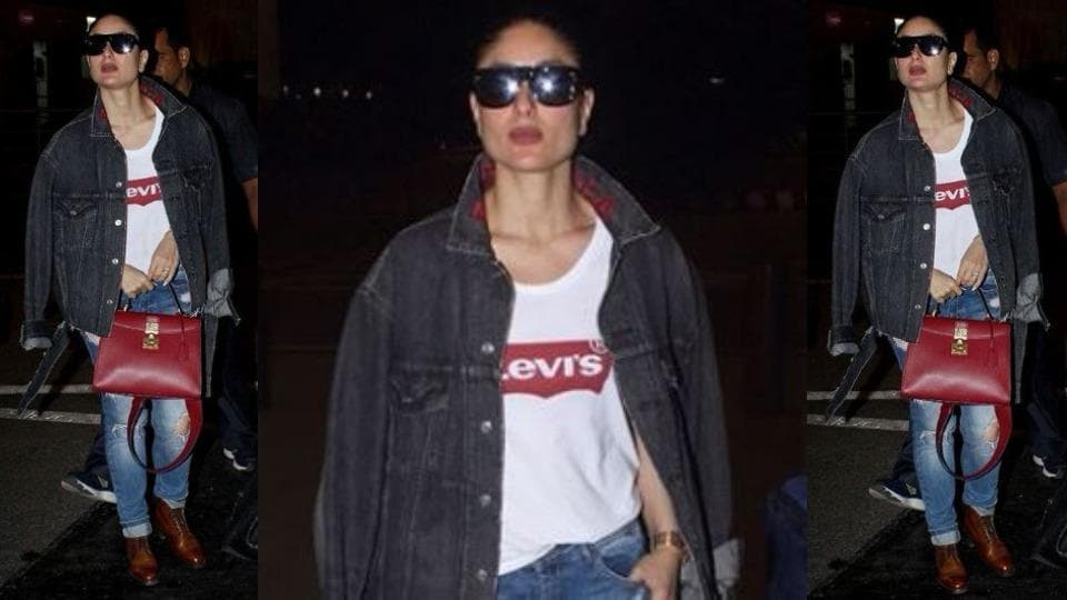 Actor Kareena Kapoor with her latest airport look showed how a contrasting two-tone denim-on-denim style is edgy. (Instagram)