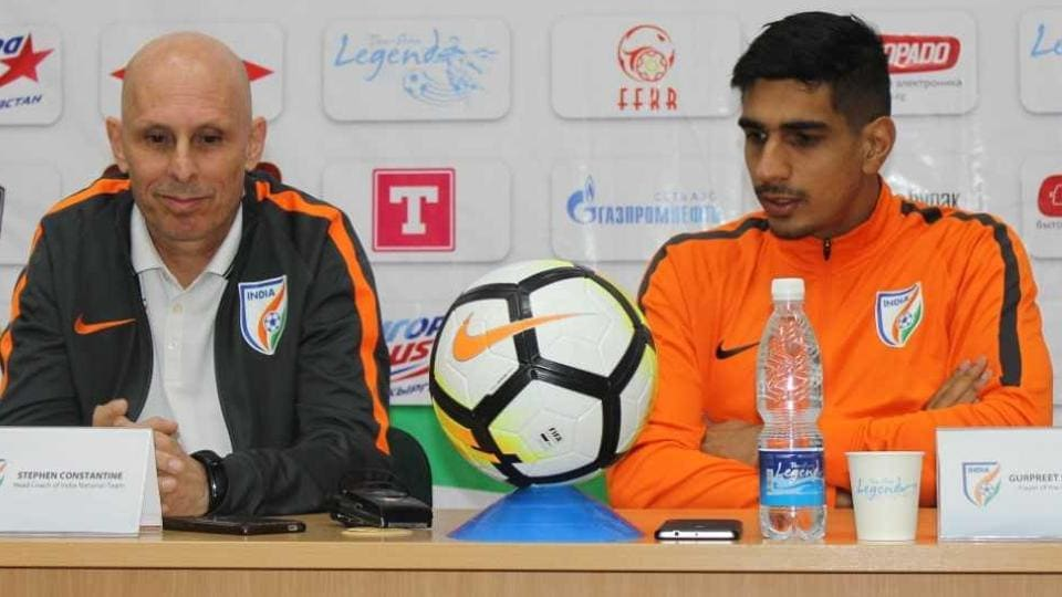 Stephen Constantine attends the press conference ahead of Indian football team's AFC Asian Cup 2019 qualifier against Kyrgyz Republic.