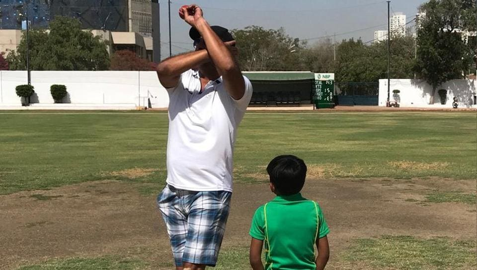 Wasim Akram posted this picture of him training six-year old aspiring pace bowler Hasan, who had gone viral on social media for his clean bowling action.