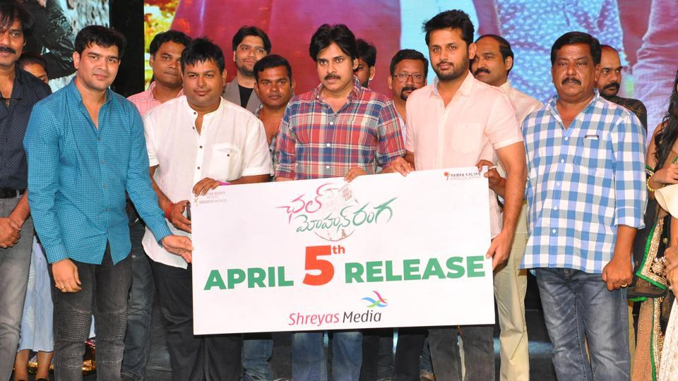 Nithiin and Pawan Kalyan at the pre-release event of Chal Mohan Ranga.