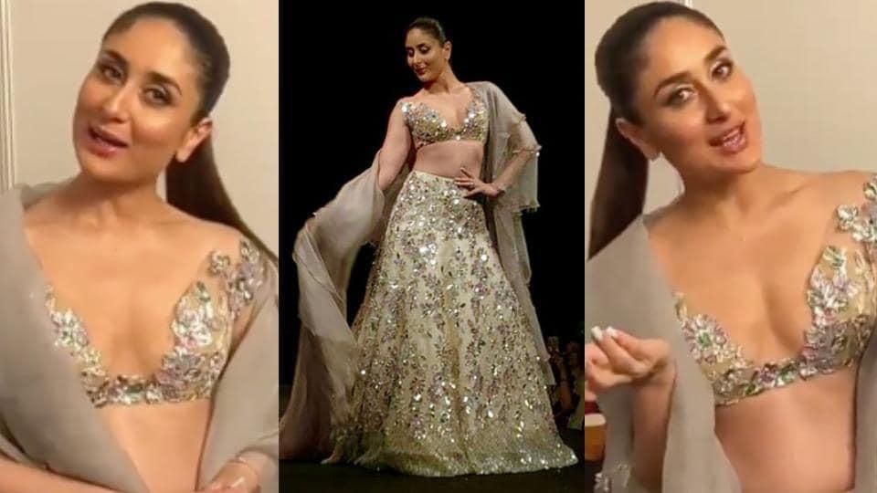 Kareena Kapoor wore a plunging sheer choli with a heavily embellished lehenga at designer Manish Malhotra's Singapore fashion show. (Instagram)