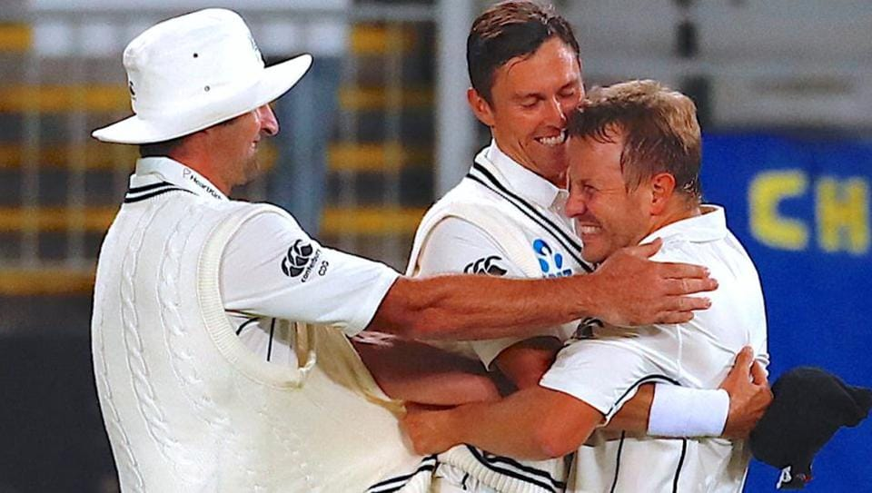 Neil Wagner celebrates after New Zealand's win over England in their first Test match in Auckland on Monday.