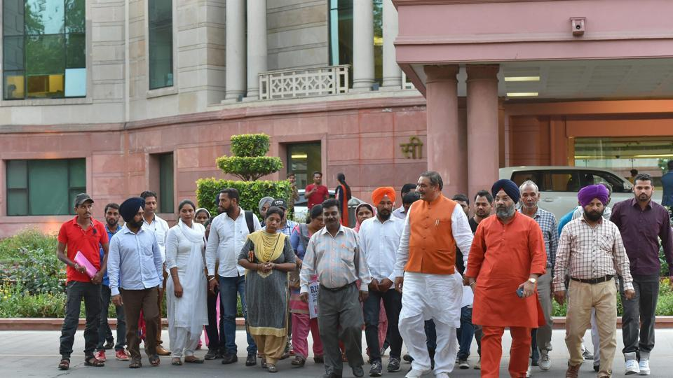 Family members of 39 Indians, who were killed in Iraq's Mosul, leave after meeting external affairs minister Sushma Swaraj in New Delhi.
