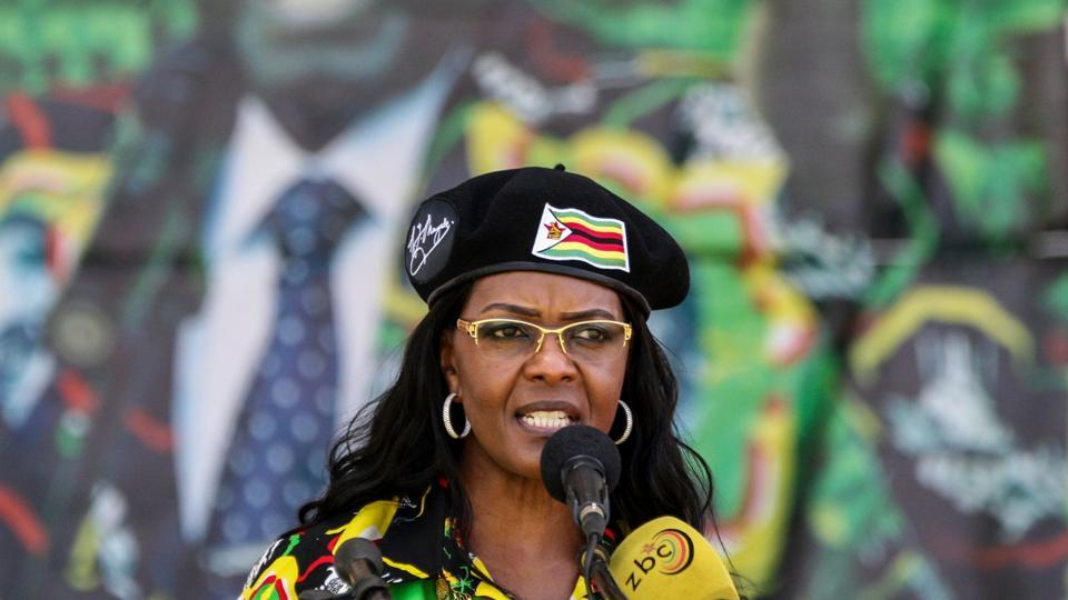 Former Zimbabwe President's wife Grace Mugabe delivers a speech during the Zimbabwe ruling party Zimbabwe African National Union- Patriotic Front (Zanu PF) youth interface Rally in Bulawayo.