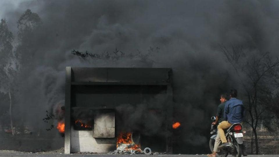 A toll booth put fire by the agitating farmers on the Mhow- Neemuch highway in Mandsaur, Madhya Pradesh on June 07, 2017.