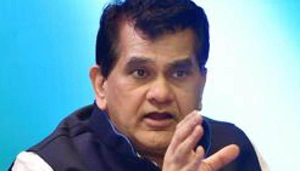 Niti Aayog CEO Amitabh Kant speaks at a panel discussion in Hyderabad.
